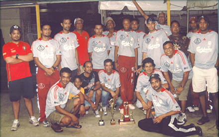 """In photo:  Winners of the """" Day and Night Super Sixes Windball Tournament 'The Same Khaki Pants"""""""